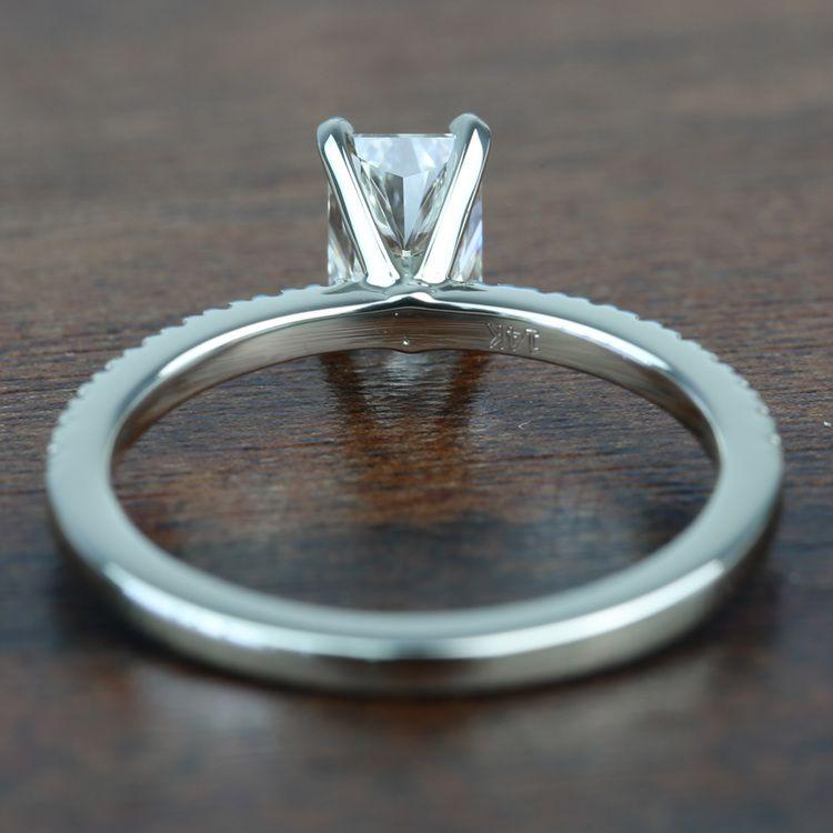 0.90 Carat Radiant Petite Pave Diamond Engagement Ring angle 4
