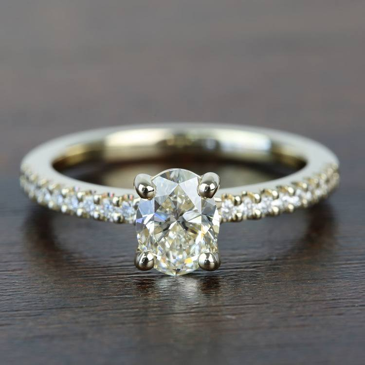0.90 Carat Scalloped Oval Diamond Engagement Ring