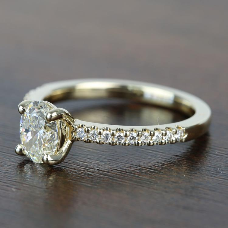 0.90 Carat Scalloped Oval Diamond Engagement Ring angle 2