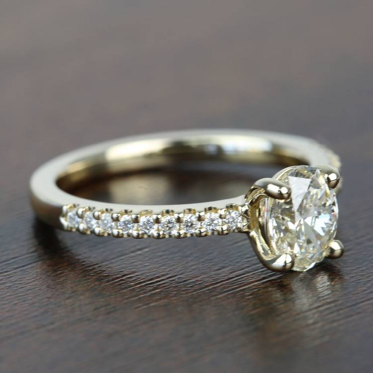 0.90 Carat Scalloped Oval Diamond Engagement Ring angle 3