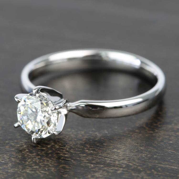 0.90 Carat Six-Prong Round Solitaire Diamond Engagement Ring angle 2
