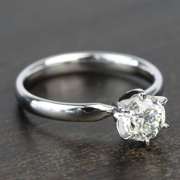 0.90 Carat Six-Prong Round Solitaire Diamond Engagement Ring angle 3
