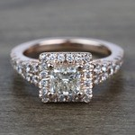 0.90 Carat Split Shank Princess Halo Diamond Engagement Ring - small