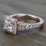 0.90 Carat Split Shank Princess Halo Diamond Engagement Ring - small angle 2