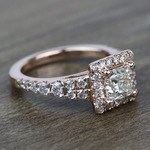 0.90 Carat Split Shank Princess Halo Diamond Engagement Ring - small angle 3