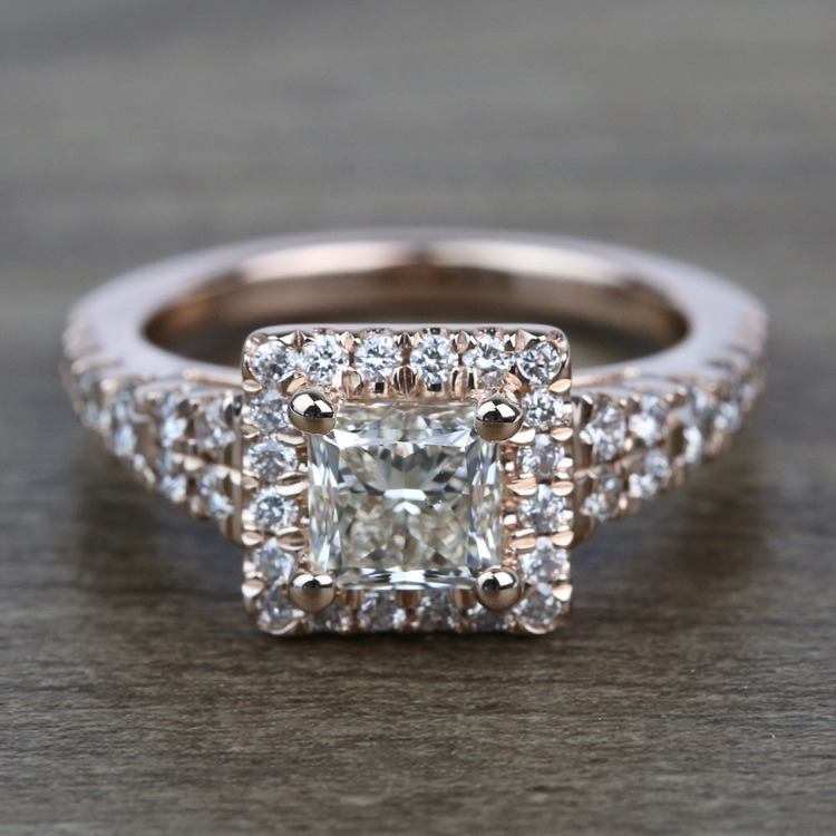 0.90 Carat Split Shank Princess Halo Diamond Engagement Ring