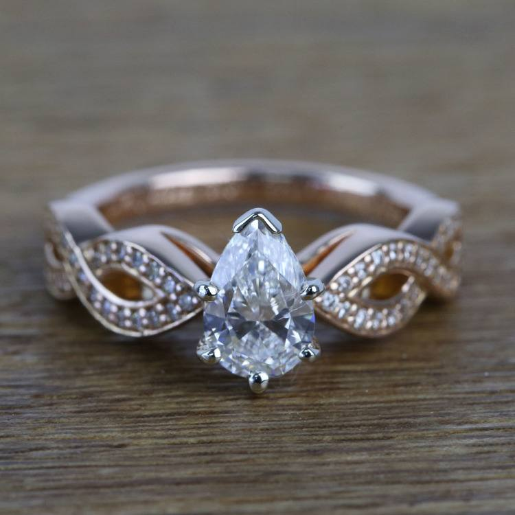 0.91 Carat Infinity Twist Cathedral Pear Diamond Engagement Ring