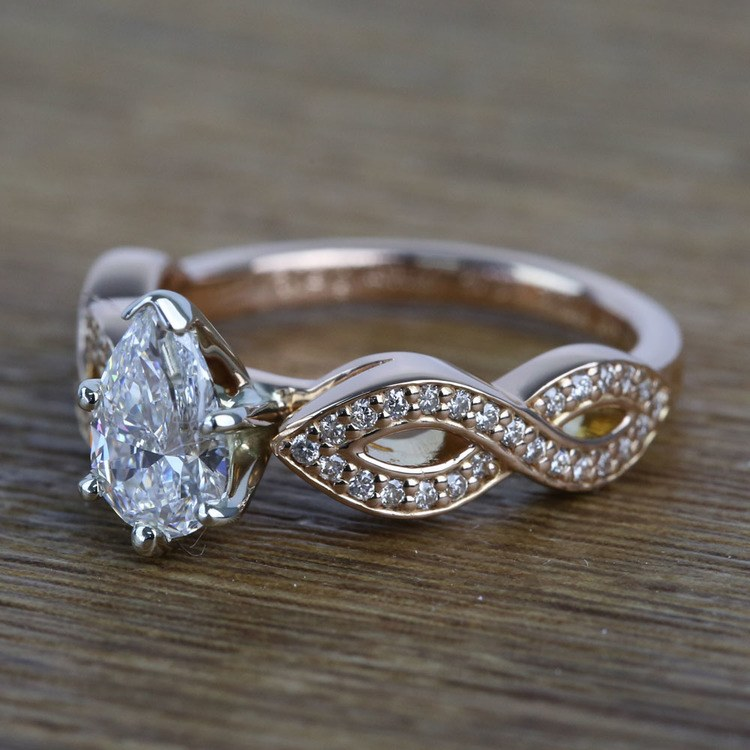 0.91 Carat Infinity Twist Cathedral Pear Diamond Engagement Ring angle 2