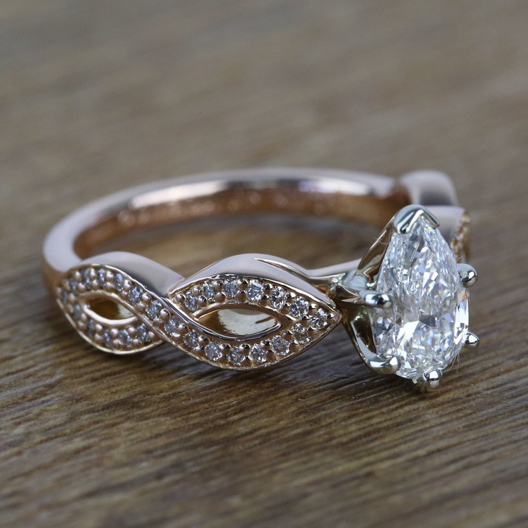 0.91 Carat Infinity Twist Cathedral Pear Diamond Engagement Ring angle 3