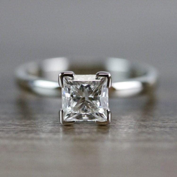 0.93 Carat Princess Cut Diamond Solitaire Engagement Ring
