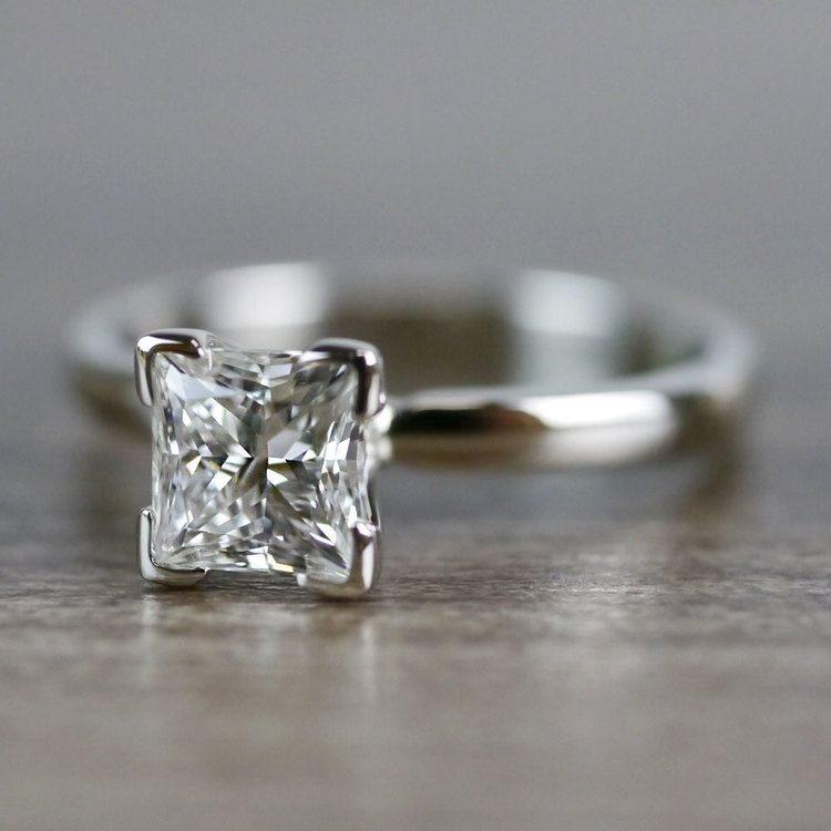 0.93 Carat Princess Cut Diamond Solitaire Engagement Ring angle 2
