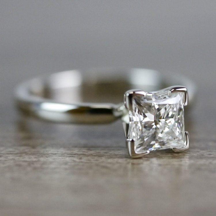 0.93 Carat Princess Cut Diamond Solitaire Engagement Ring angle 3