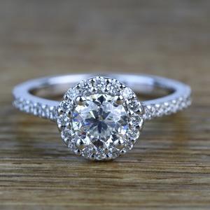 0.94 Carat Round Custom Halo Diamond Engagement Ring