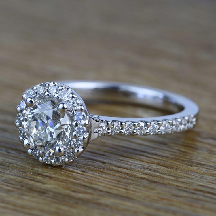 0.94 Carat Round Custom Halo Diamond Engagement Ring angle 2