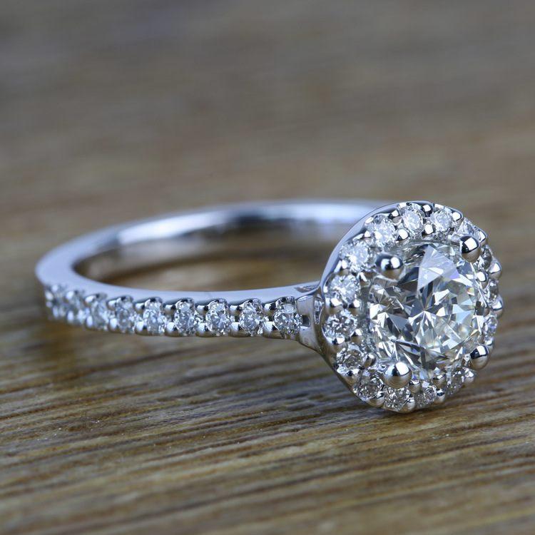 0.94 Carat Round Custom Halo Diamond Engagement Ring angle 3