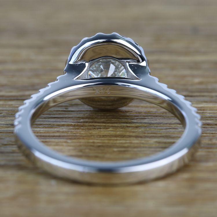 0.94 Carat Round Custom Halo Diamond Engagement Ring angle 4