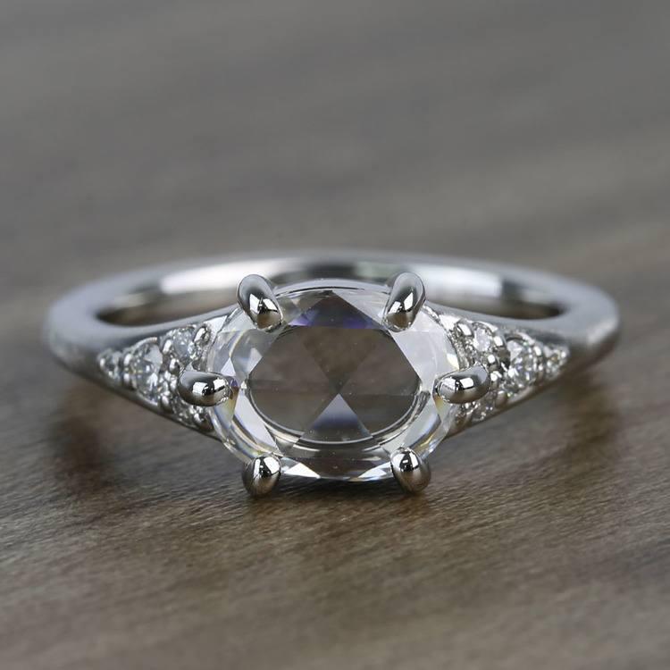 0.95 Carat Custom Rose Cut Oval Diamond Engagement Ring