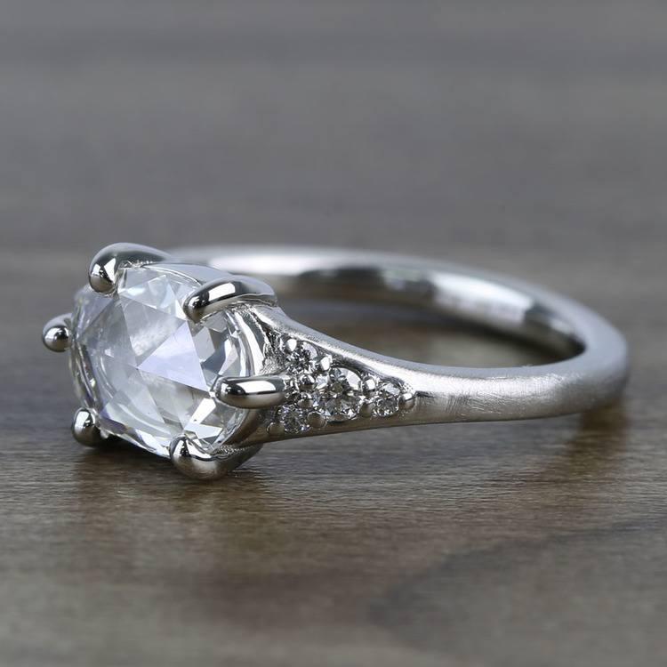 0.95 Carat Custom Rose Cut Oval Diamond Engagement Ring angle 3
