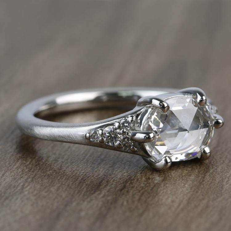 0.95 Carat Custom Rose Cut Oval Diamond Engagement Ring angle 2