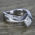 1 Carat Princess Diamond with Bezel Bridge Ring Setting - small angle 3