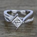 1 Carat Princess Diamond with Bezel Bridge Ring Setting - small