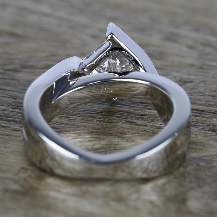 1 Carat Princess Diamond with Bezel Bridge Ring Setting angle 4
