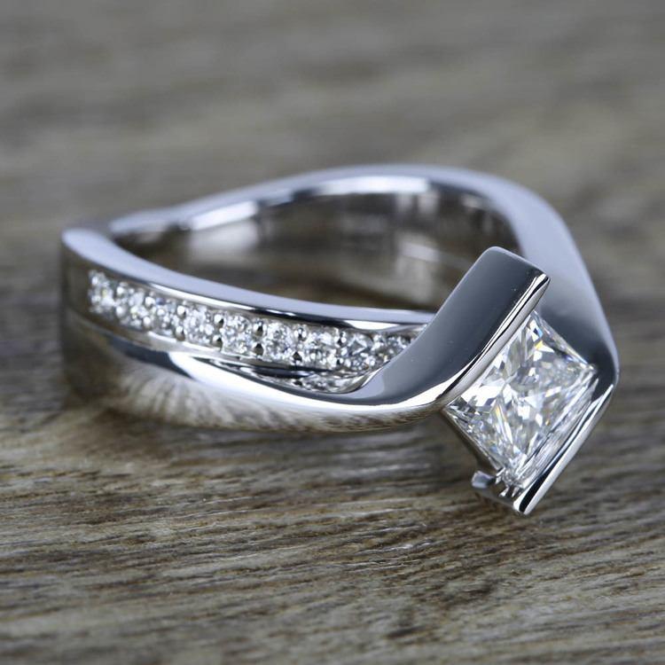 1 Carat Princess Diamond with Bezel Bridge Ring Setting angle 3