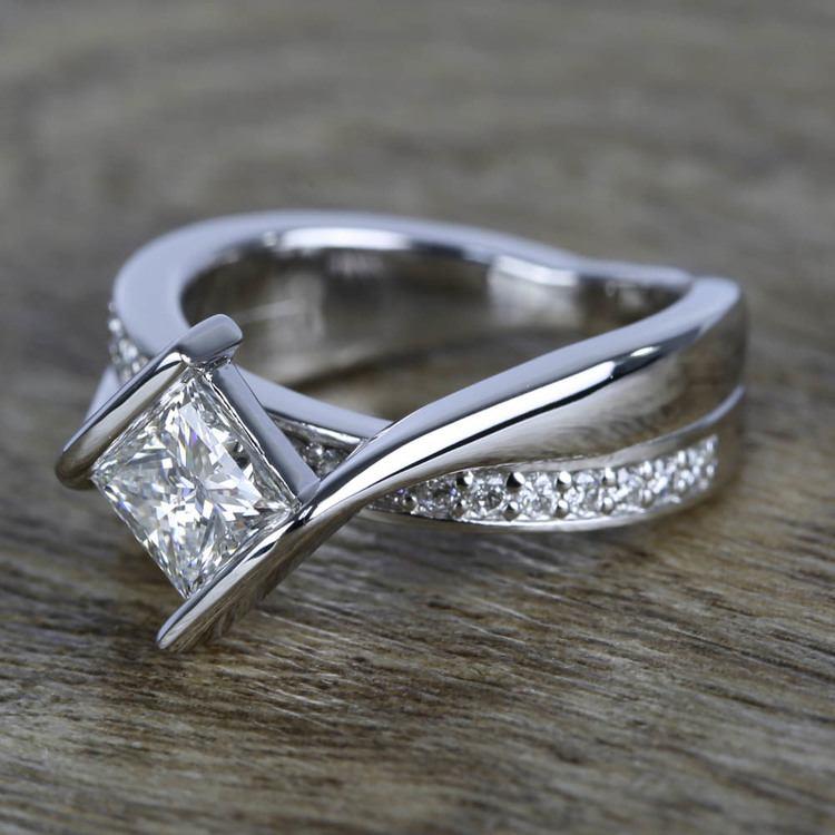 1 Carat Princess Diamond with Bezel Bridge Ring Setting angle 2