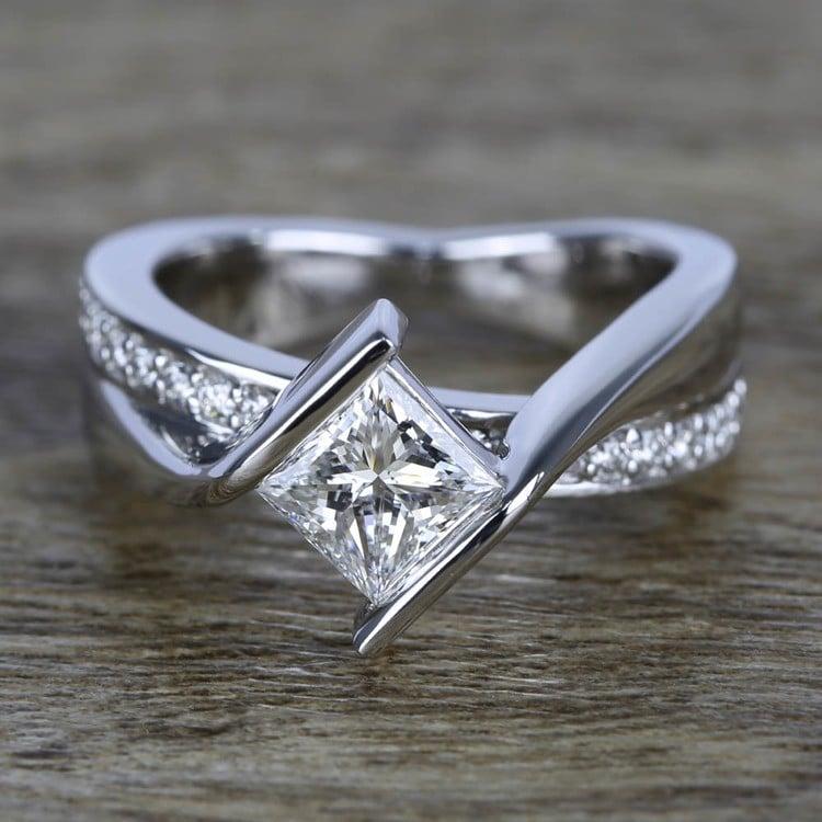 1 Carat Princess Diamond with Bezel Bridge Ring Setting