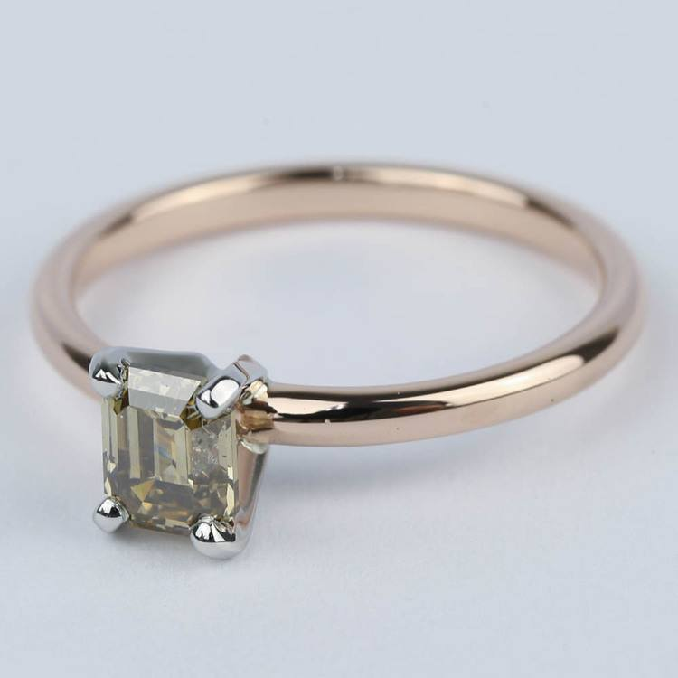 Fancy Brown Emerald Diamond Engagement Ring (0.98 ct.) angle 2