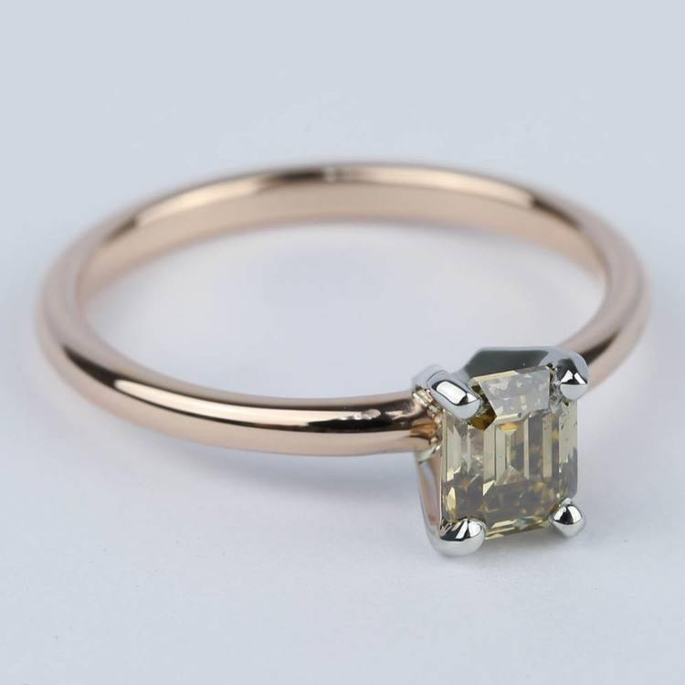 Fancy Brown Emerald Diamond Engagement Ring (0.98 ct.) angle 3