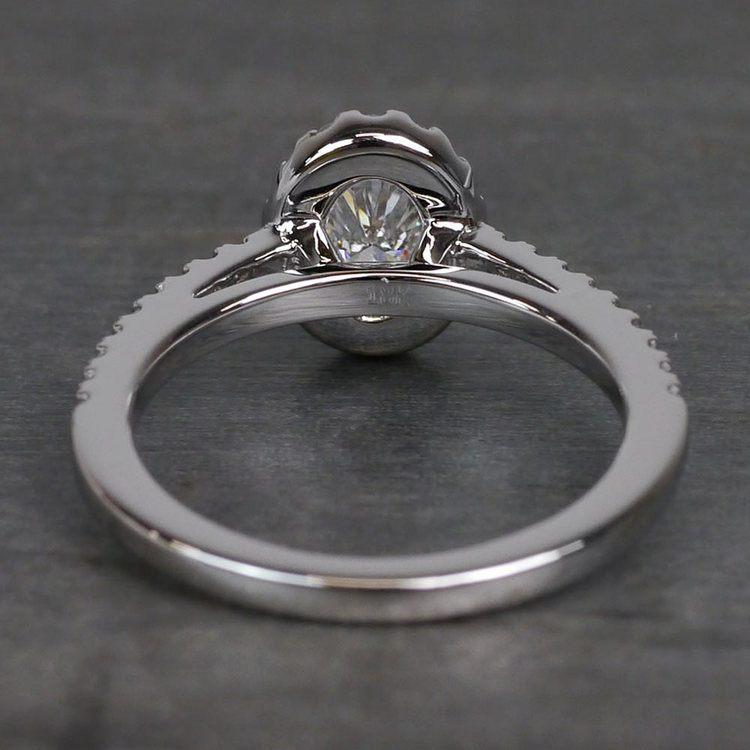 0.61 Carat Stunning Floating Halo Oval Diamond Engagement Ring angle 4