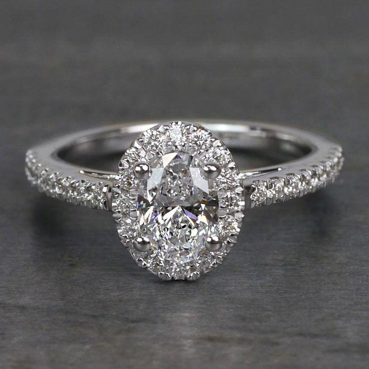 0.61 Carat Stunning Floating Halo Oval Diamond Engagement Ring