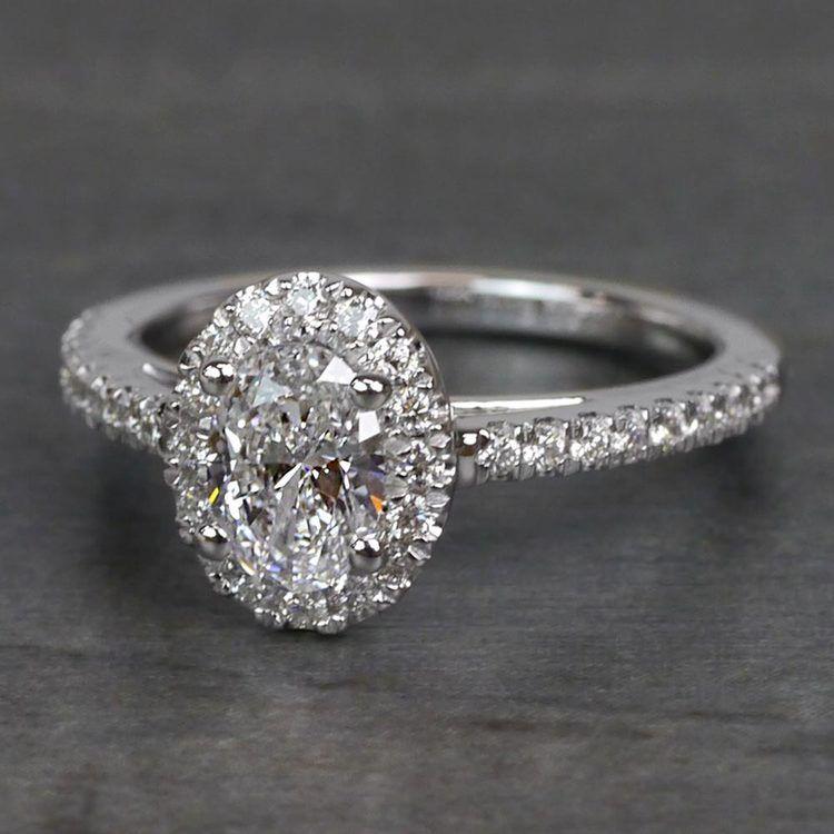 0.61 Carat Stunning Floating Halo Oval Diamond Engagement Ring angle 2