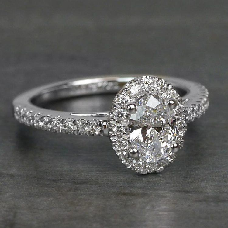 0.61 Carat Stunning Floating Halo Oval Diamond Engagement Ring angle 3