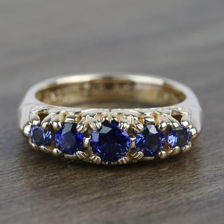 0.83 Carat Custom Antique 5-Stone Sapphire Engagement Ring