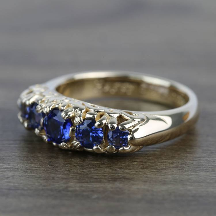 0.83 Carat Custom Antique 5-Stone Sapphire Engagement Ring angle 2