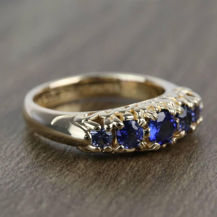 0.83 Carat Custom Antique 5-Stone Sapphire Engagement Ring angle 3