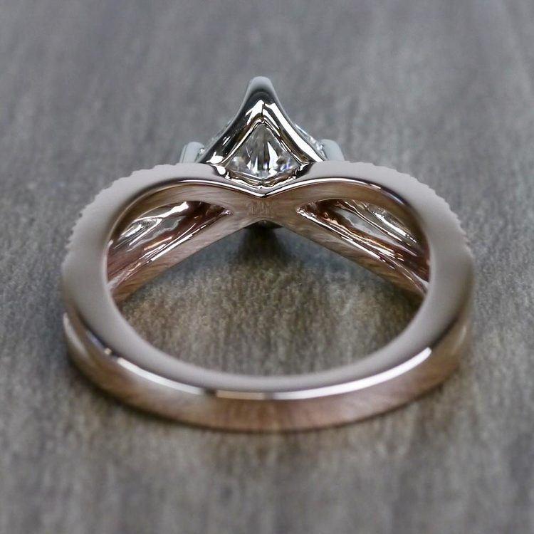 0.85 Carat Princess Cut Diamond Twisted Design Engagement Ring angle 4