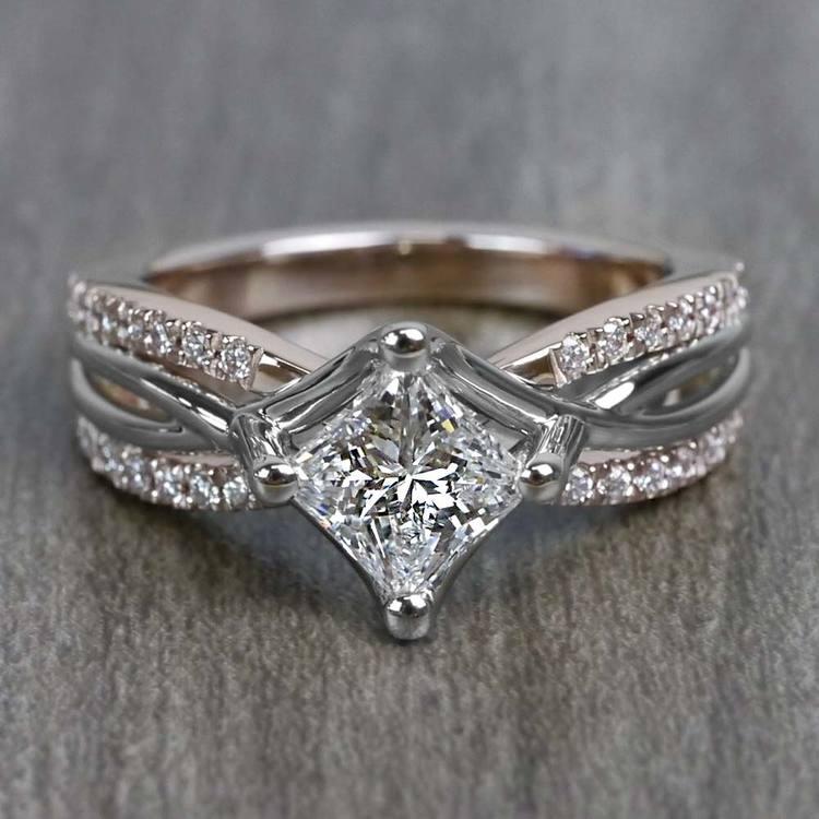 0.85 Carat Princess Cut Diamond Twisted Design Engagement Ring