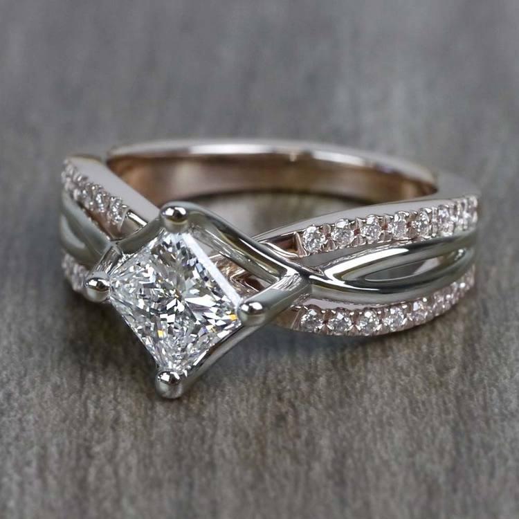 0.85 Carat Princess Cut Diamond Twisted Design Engagement Ring angle 2