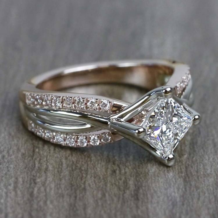 0.85 Carat Princess Cut Diamond Twisted Design Engagement Ring angle 3