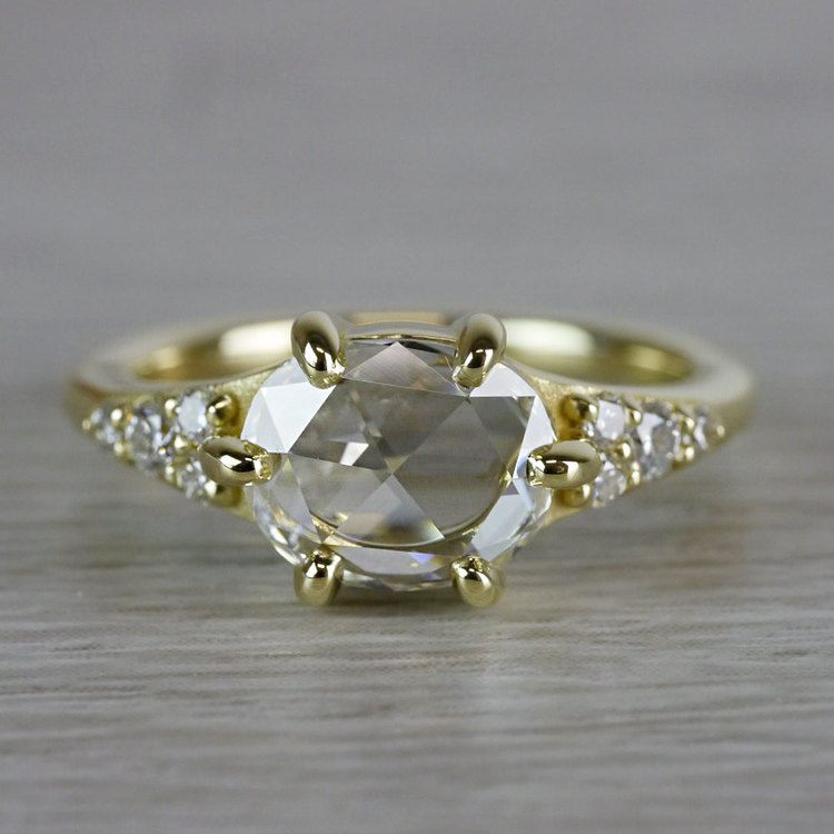 0.90 Carat Custom Rose Cut Oval Diamond Engagement Ring
