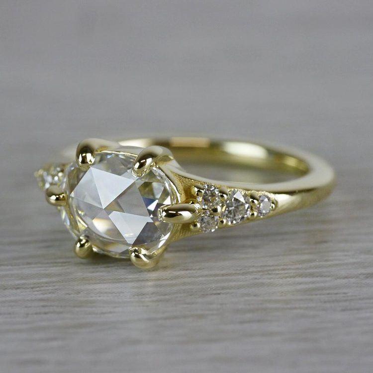 0.90 Carat Custom Rose Cut Oval Diamond Engagement Ring angle 2