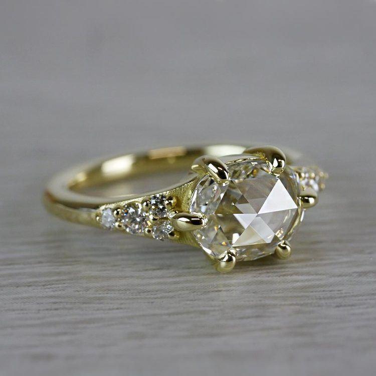 0.90 Carat Custom Rose Cut Oval Diamond Engagement Ring angle 3