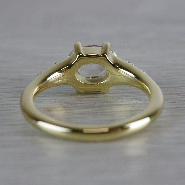 0.90 Carat Custom Rose Cut Oval Diamond Engagement Ring angle 4