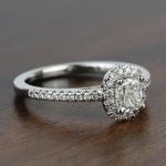 1.00 Carat Floating Halo Cushion Loose Diamond Engagement Ring - small angle 3