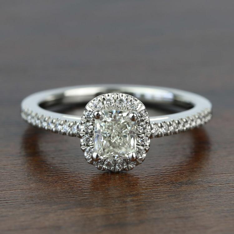 1.00 Carat Floating Halo Cushion Loose Diamond Engagement Ring