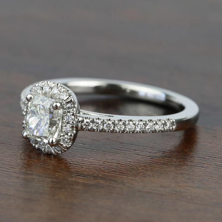 1.00 Carat Floating Halo Cushion Loose Diamond Engagement Ring angle 2