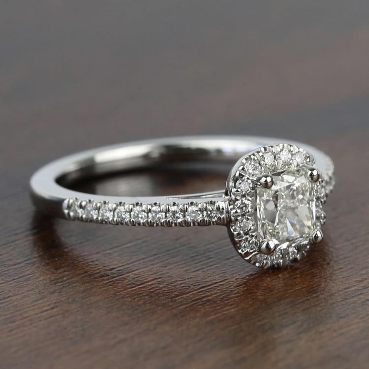 1.00 Carat Floating Halo Cushion Loose Diamond Engagement Ring angle 3